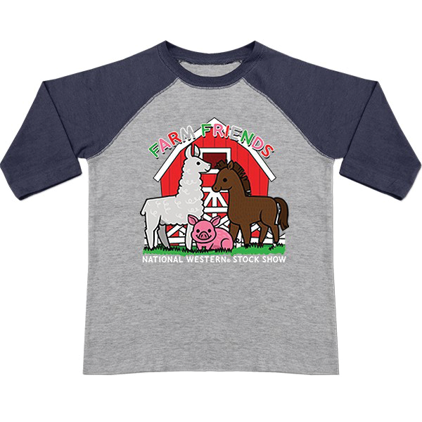 TODDLER BASEBALL LONG SLEEVE TEE FARM FRIENDS-NAVY