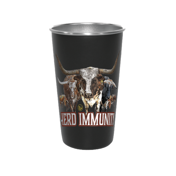 PINT GLASS HERD IMMUNITY-BLACK
