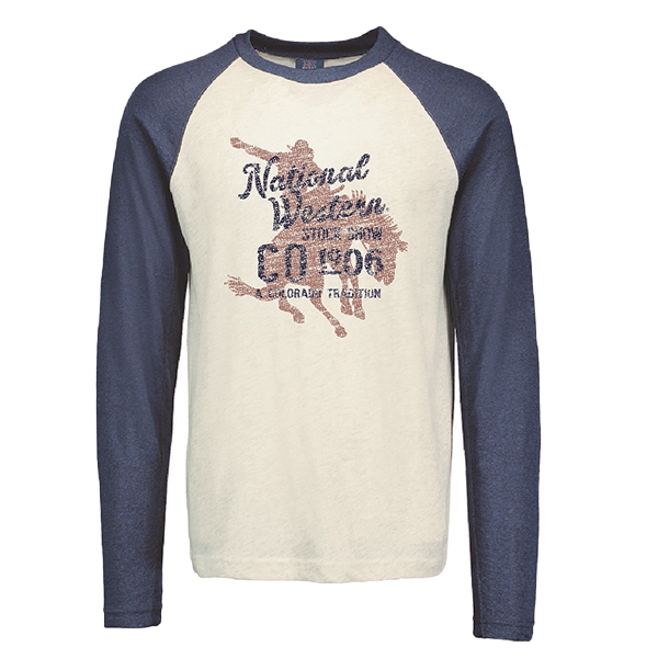 ADULT RAGLAN LONG SLEEVE TEE NWSS-OATMEAL/INDIGO