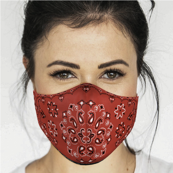 ADULT BANDANA FACE MASK-RED